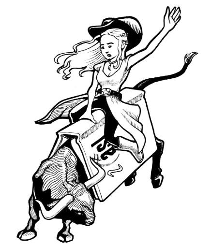 Cowgirl riding bull logo for IASL