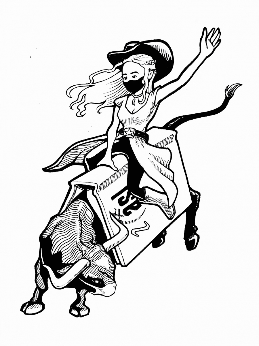 Cowgirl riding bull logo for IASL